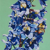 #388 Delphinium and Bees 20_x20_ 2013 oil on canvas