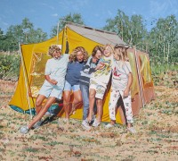 #394 The Tent 5 Girls 54_x60_ 2014 oil on canvas
